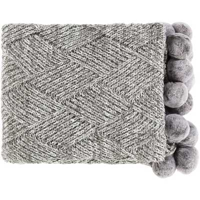 Poppy Modern Classic Charcoal Grey Knitted Pom Pom Edge Throw Blanket - Kathy Kuo Home