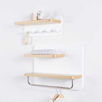 White and Natural Wood Shelf With Rod - Crate and Barrel