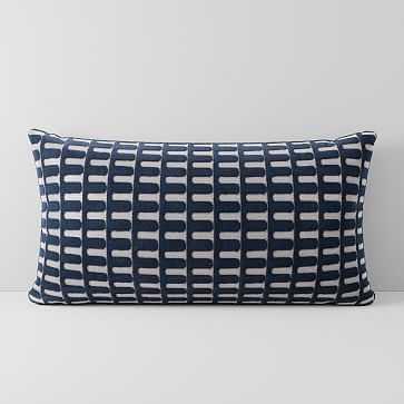 """Cut Velvet Archways Pillow Cover, 14""""x26"""", Regal Blue - West Elm"""