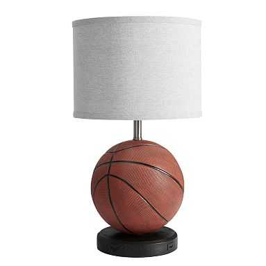 Basketball Table Lamp with USB, Brown - Pottery Barn Teen