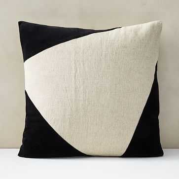 "Cotton Linen + Velvet Corners Pillow Cover, Set of 2, Black, 24""x24"" - West Elm"