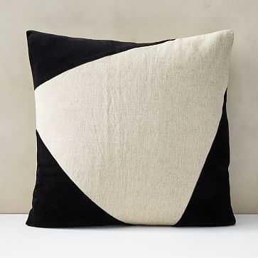 """Cotton Linen + Velvet Corners Pillow Cover, 24""""x24"""", Black - West Elm"""