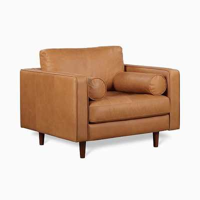 Dennes Chair Tan Charme Leather Walnut - West Elm