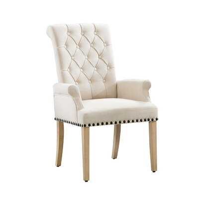 Dermando Tufted Linen Upholstered Arm Chair - Wayfair