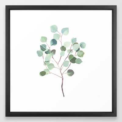 Eucalyptus Leaves Botanical Print Framed Art Print by Becky Bailey - Vector Black - MEDIUM (Gallery)-22x22 - Society6
