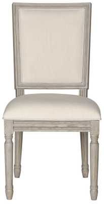 Buchanan 19''H French Brasserie Linen Rect Side Chair (Set of 2) - Light Beige/Rustic Grey - Arlo Home - Arlo Home
