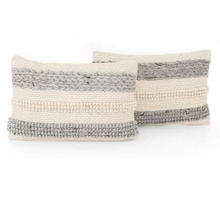 "Textured Stripe Pillow Set Of 2, 16 x 24"", Cream/Gray - Pottery Barn"