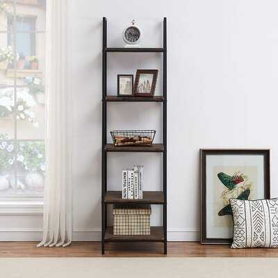 "17 Stories 5-shelf Ladder Bookcase, Leaning Bookcases And Book Shelves, Industrial Rustic Bookshelf, Home Office Etagere Bookcase-height: 72""h - Wayfair"
