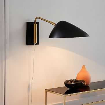 New Curvilinear Mid-Century Sconce, Short Arm, Black, Brass, Set of 2 - West Elm