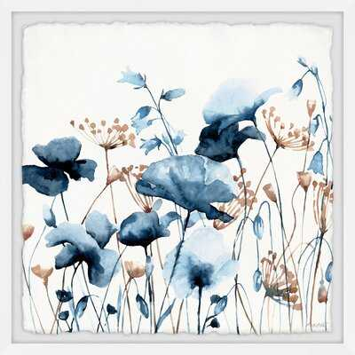 Blue Flower Fields by Marmont Hill - Picture Frame Print with Deckled Edge - Wayfair