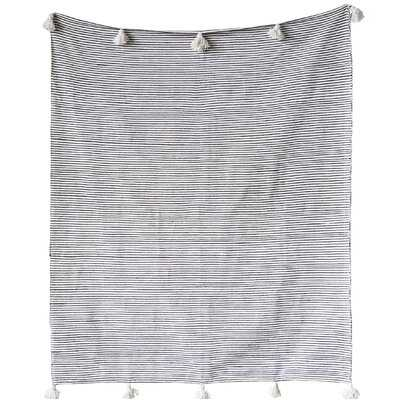 Kiel with Pom Poms Cotton Blanket - AllModern