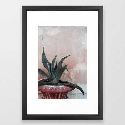 Pink Blue Cactus Framed Art Print by Printsproject - Vector Black - SMALL-15x21 - Society6