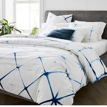 Clamped Shibori Duvet, Full/Queen, Blue Willow - West Elm