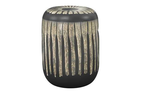 Barrel Shaped Stoneware Side Table/Stool with Geometric Shapes, Inset Handles & Reactive Glaze Finish - Nomad Home