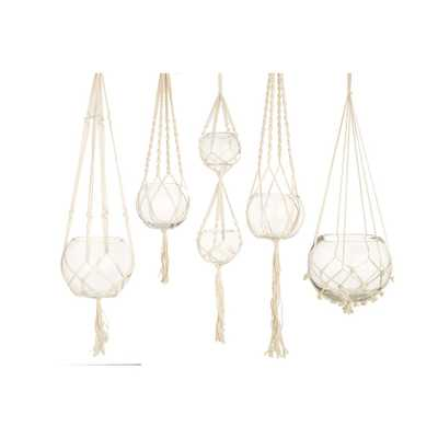 Two's Company Set of 5 Handcrafted Macrame Plant Hangers/Candleholders Includes Cream Colored Cotton Rope and Clear Glass Bowl - Home Depot