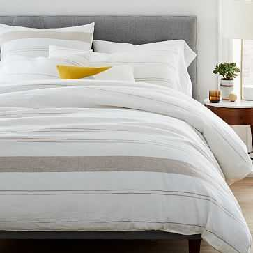 Hemp Cotton Serene Stripes Duvet, King, Undyed Natural + Desert Flax - West Elm