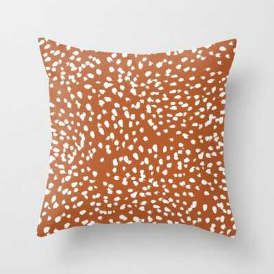 """Rust Dots - Painted Dots, Terracotta, Clay, Earth, Earth Toned, Boho, Brown, Brown Dots, Rust Orange, Painted Dots Couch Throw Pillow by Charlottewinter - Cover (20"""" x 20"""") with pillow insert - Outdoor Pillow - Society6"""