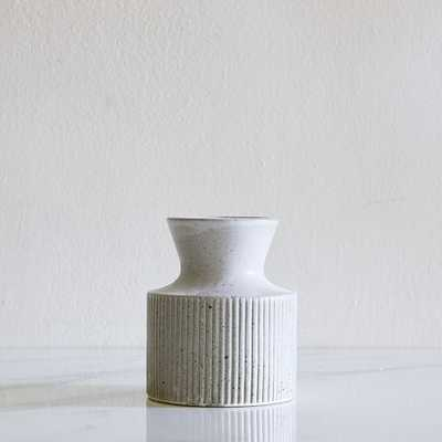 Textured Linework Vases, Round Short, White & Natural-Individual - West Elm