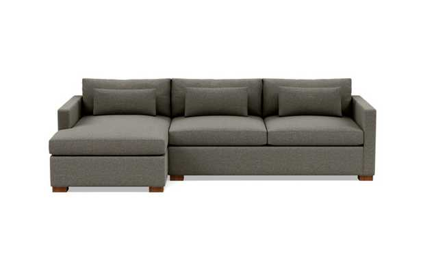 Charly Sleeper Sleeper Sectional with Grey Shade Fabric, extended chaise, and Oiled Walnut legs - Interior Define