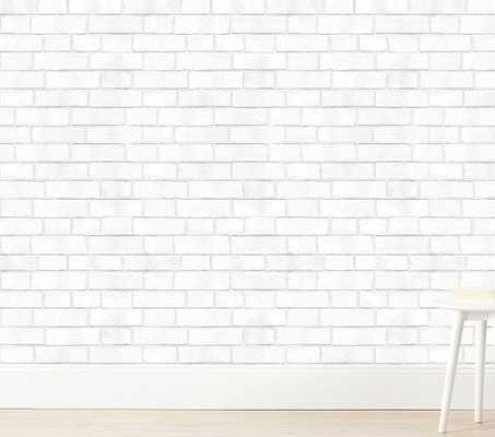 Tempaper Brick Wallpaper, White - Pottery Barn Kids