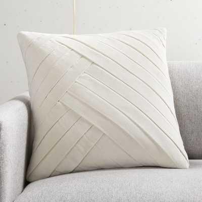 """18"""" Leger Velvet Pillow Ivory with Down-Alternative Insert - CB2"""