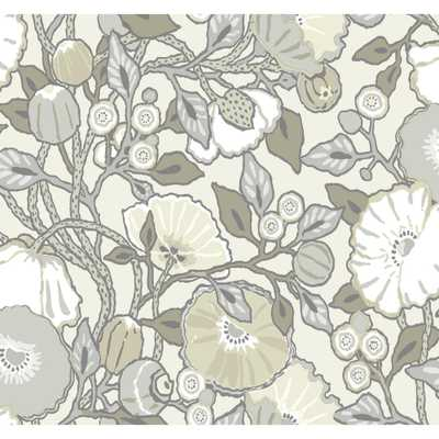 York Wallcoverings 60.75 sq. ft. Vincent Poppies Wallpaper, Gray - Home Depot