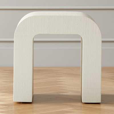 Horseshoe White Lacquered Linen Side Table - CB2