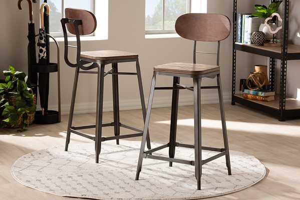 Baxton Studio Varek Vintage Rustic Industrial Style Bamboo and Rust-Finished Steel Stackable Bar Stool Set - Lark Interiors
