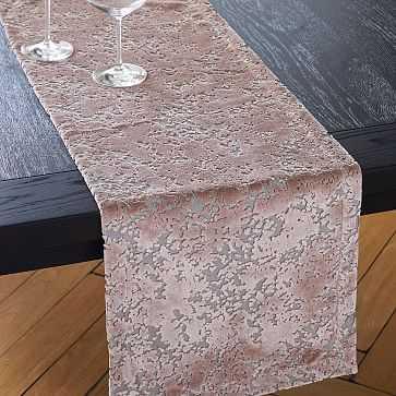 Allover Textured Jacquard Vevet Table Runner, Dusty Blush - West Elm