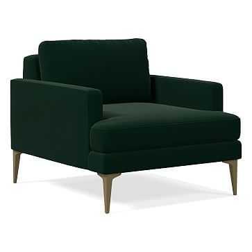 Andes Chair, Astor Velvet, Evergreen, Blackened Brass - West Elm