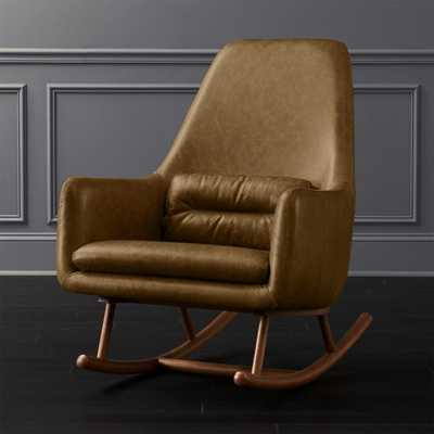 Saic Quantam Saddle Leather Rocking Chair - CB2