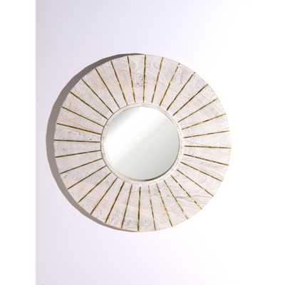 Best Home Fashion Round Whitewashed Wood Mirror with Golden Inlay - Home Depot