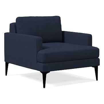 Andes Chair, Twill, Regal Blue, Dark Pewter - West Elm