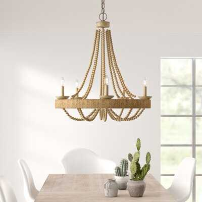 Aanya 5 - Light Candle Style Wagon Wheel Chandelier with Beaded Accents - AllModern