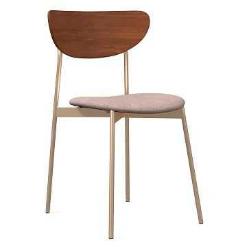 Modern Petal Upholstered Dining Chair, Distressed Velvet, Light Pink, Light Bronze - West Elm