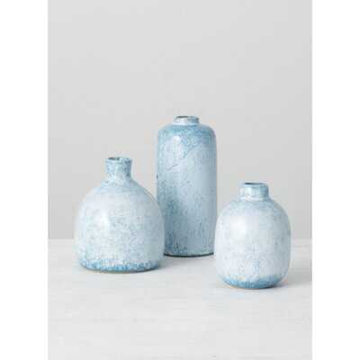 3 Piece Mona Blue Ceramic Table Vase Set - Wayfair