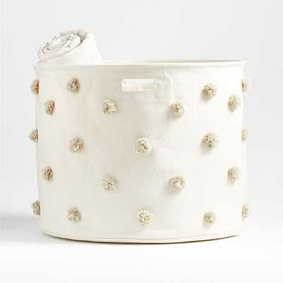 Pehr Gray Pom Pom Large Drum Bin - Crate and Barrel