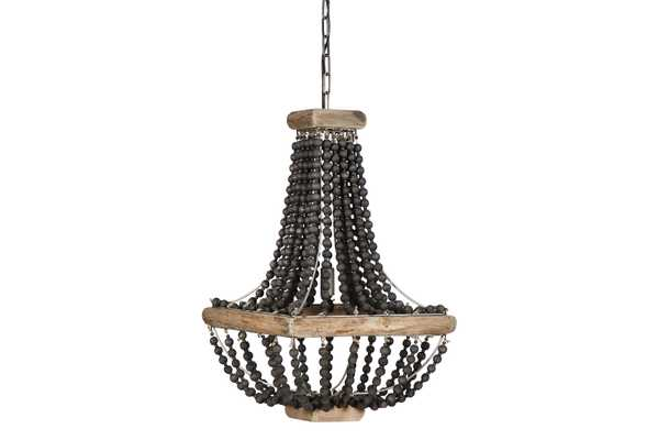 Black Wood Beaded Pendant Light with Brown Wood Frame - Nomad Home