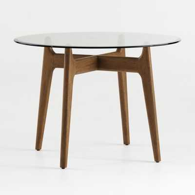 """Tate 42"""" Round Dining Table with Glass Top and Walnut Base - Crate and Barrel"""