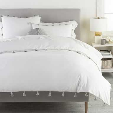 Tassel Duvet Cover, Full/Queen, Light Grey - Pottery Barn Teen