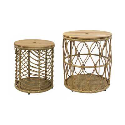 MADE 4 HOME Cali Storage Round Wicker Outdoor Side Table Set - Home Depot