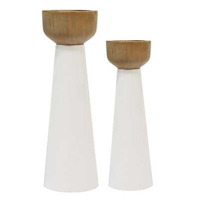 2 Piece Pillar Metal/Wood Candlestick Set - AllModern