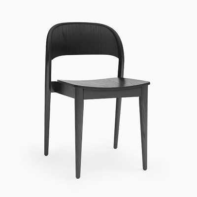 Hunter Shaped Wood Stacking Chair, Oak Wood, Dyed Black - West Elm