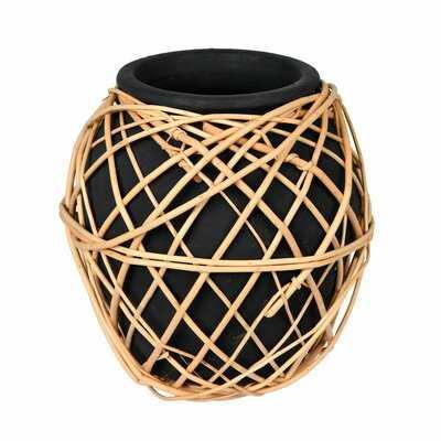 "Jay Charcoal 9"" Terracotta Table Vase - Wayfair"