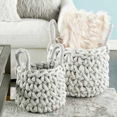 Round Handmade 2 Piece Fabric Basket Set - Wayfair