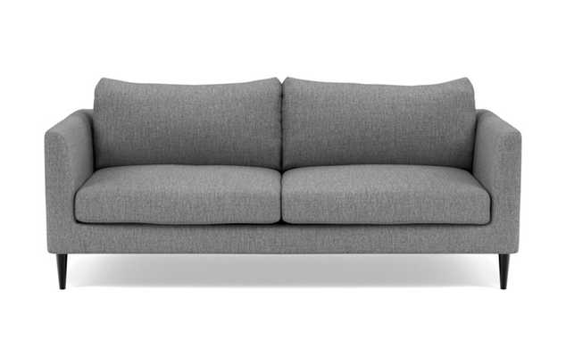 Owens Loveseats with Grey Plow Fabric, standard down blend cushions, and Unfinished GunMetal legs - Interior Define