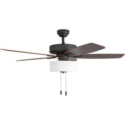 "52"" Sybilla 5 Blade Ceiling Fan, Light Kit Included-3 Speed Remote - Birch Lane"
