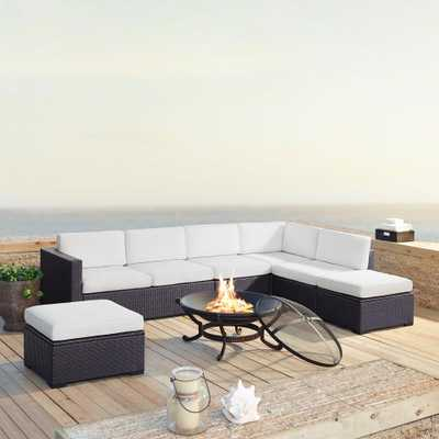 Crosley Furniture Biscayne 6-Piece Wicker Outdoor Sectional Set with White Cushions - Home Depot