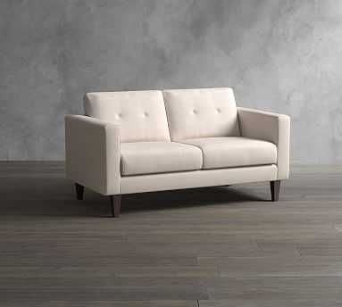 SoMa Leo Upholstered Loveseat, Polyester Wrapped Cushions, Performance Chateau Basketweave Oatmeal - Pottery Barn