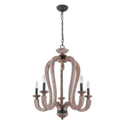 Naranjo 5 - Light Candle Style Empire Chandelier with Wrought Iron Accents - Wayfair